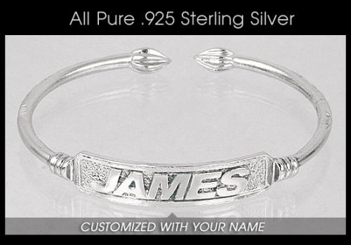 516fcad828aae Sterling Silver West Indian Bangle - CUSTOM NAME PLATE