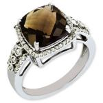 Sterling Silver Diamond & Smokey Quartz Ring